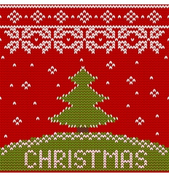 seamless knitted pattern with Christmas tree vector image