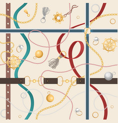 seamless pattern with belts golden chain vector image