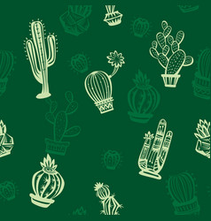 Seamless pattern with cute cactuses vector