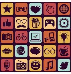 seamless pattern with trendy hipster icons vector image