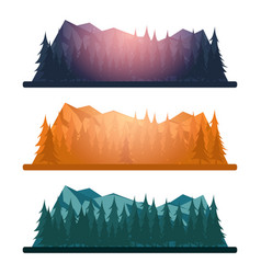 Set of nature mountains landscape rocky mountains vector