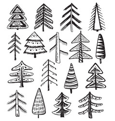 Set of ornate doodle christmas trees vector