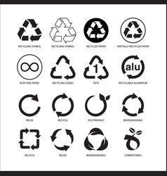 Set recycle symbol isolated vector