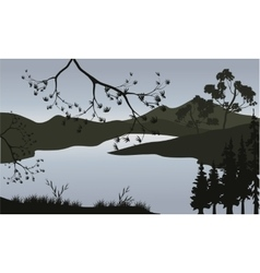 Silhouette of lake and mountain vector image