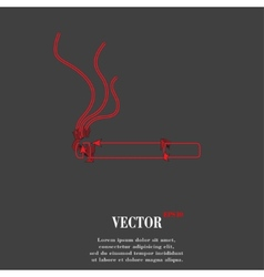 Smoking sign cigarette Flat modern web button and vector