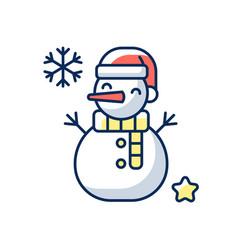 snowman rgb color icon vector image