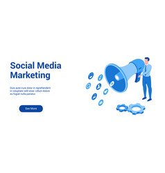 social marketing 3d template 2 vector image