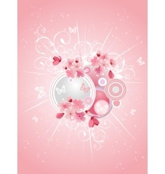 Spring cherry blossoms on pink background vector image