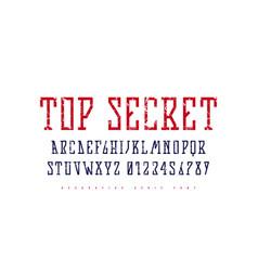 stock narrow slab serif font in futuristic style vector image