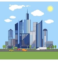stylish architecture design modern city vector image