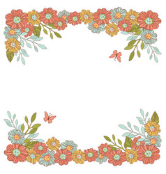 summer flowers floral decorative frame party vector image