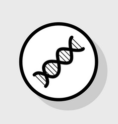 The dna sign flat black icon in white vector