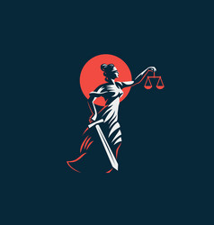 The goddess themis with a sword vector