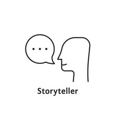 Thin line storyteller black icon vector