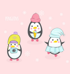 three cute penguins in hats vector image