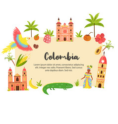 Tourist poster with famous destination colombia vector