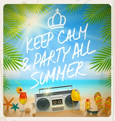 Tropical beach summer party - vintage design vector image