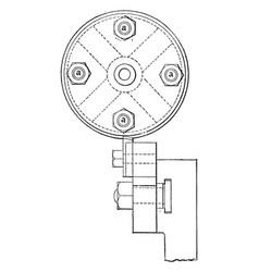 Turning belt pulleys vintage vector