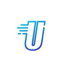 U letter dash fast quick digital mark line vector