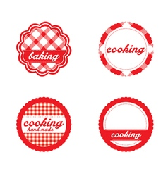 Vintage retro bakery labels red gingham vector