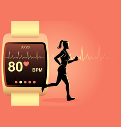 woman jogging with smart watch vector image