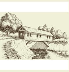 Wooden bridge over river in forest vector