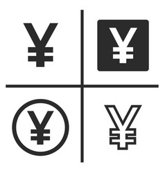 yen currency symbol set vector image