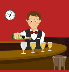 young bartender pours champagne in wineglass vector image