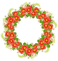 Frame of flowers arranged in a circle vector image