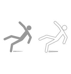 Man slip fall it is black icon vector