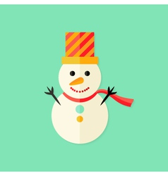 Snowman with Topper Christmas Flat Icon vector image