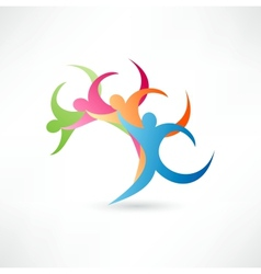 Abstract wave people vector image vector image