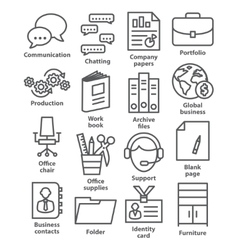 Business office icons in line style vector image