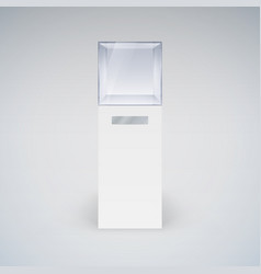 empty glass showcase in cube form for vector image