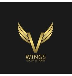 Golden V letter logo vector image vector image