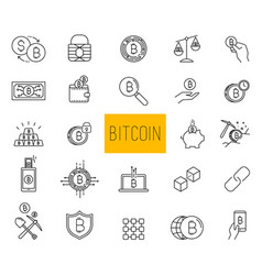 line stroke cryptocurrency icons vector image vector image