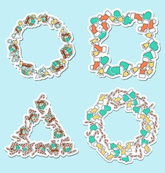 Set 4 Christmas framework from festive elements vector image vector image