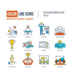 Color icons corporate development teamwork vector