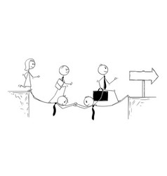 conceptual cartoon of business teamwork and vector image