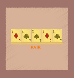 Flat shading style icon pair poker vector