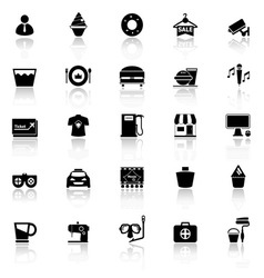 Franchisee business icons with reflect on white vector