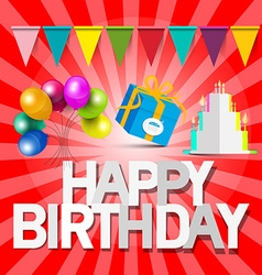 Happy Birthday Retro Red Card with Balloons - Gift vector image