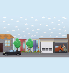 home garage in flat style vector image vector image