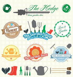 Retro Garden Shop Labels and Icons vector image vector image