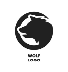 Silhouette of the wolf monochrome logo vector image vector image