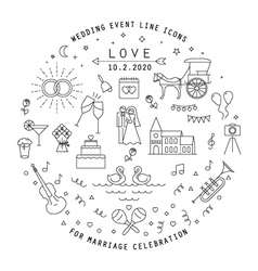 WEDDING LINE ICONS COLLECTION vector image vector image