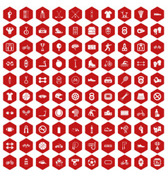 100 sport icons hexagon red vector