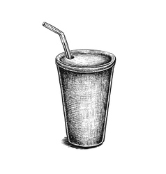 Black and white hand drawn soda can vector image vector image