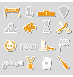 Flawless victory symbols set of color stickers vector