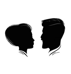Portrait of man and woman head profile black vector